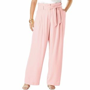 Denim 24/7 plus size wide leg paper bag pants